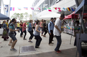 UNF students enjoying music and dancing at Market Days in the Plaza